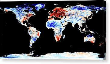 Global Warming Record Canvas Print by Jesse Allen, Nasa Earth Observatory/modis Land Group