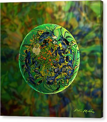 Globing Earth Irises Canvas Print by Robin Moline