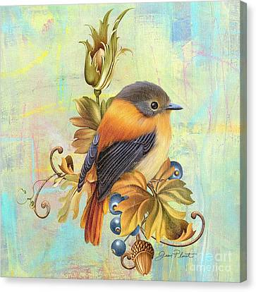 Glorious Birds On Aqua-a2 Canvas Print by Jean Plout