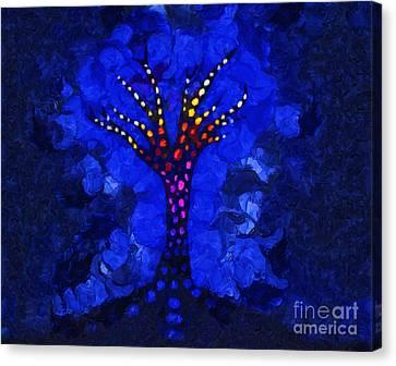 Glow Tree Blue Canvas Print by Pixel Chimp
