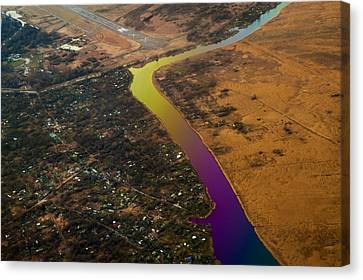 Glowing River. Rainbow Earth Canvas Print by Jenny Rainbow