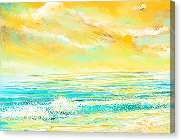 Glowing Waves - Seascapes Sunset Abstract Canvas Print by Lourry Legarde