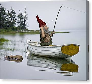 Gnome Fisherman In A White Maine Boat On A Foggy Morning Canvas Print by Randall Nyhof