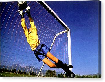 Goalkeeper Catches The Ball Canvas Print by Lanjee Chee