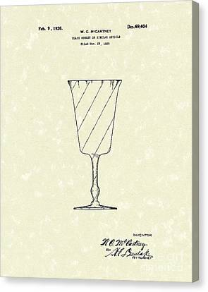 Goblet 1926 Patent Art Canvas Print by Prior Art Design