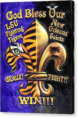 God Bless Our Tigers And Saints Canvas Print by Mike Roberts