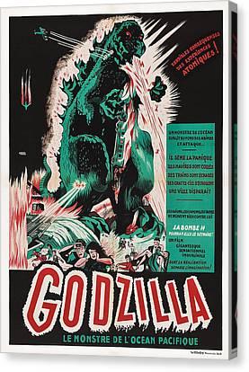 Godzilla, Godzilla On French Poster Canvas Print by Everett