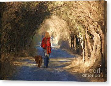 Going For A Walk Canvas Print by John  Kolenberg