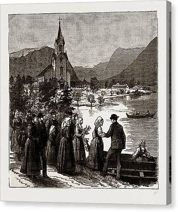 Going Home From Church, Norway Canvas Print by Litz Collection