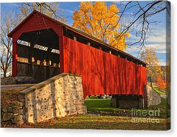 Gold Above The Poole Forge Covered Bridge Canvas Print by Adam Jewell