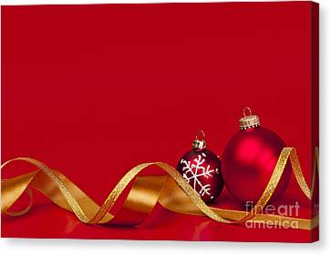 Gold And Red Christmas Decorations Canvas Print by Elena Elisseeva