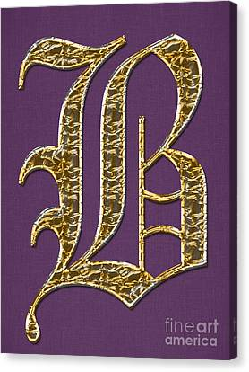 Gold B On Purple Canvas Print by Barbara Griffin
