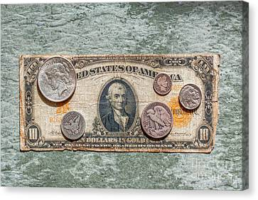 Gold Certificate And Silver Coins Ver 1 Canvas Print by Randy Steele