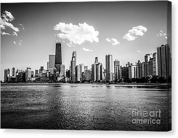 Gold Coast Skyline In Chicago Black And White Picture Canvas Print by Paul Velgos