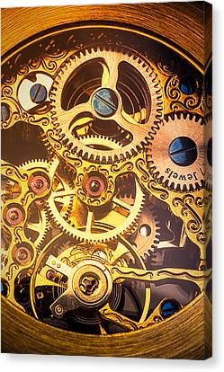 Gold Pocket Watch Gears Canvas Print by Garry Gay