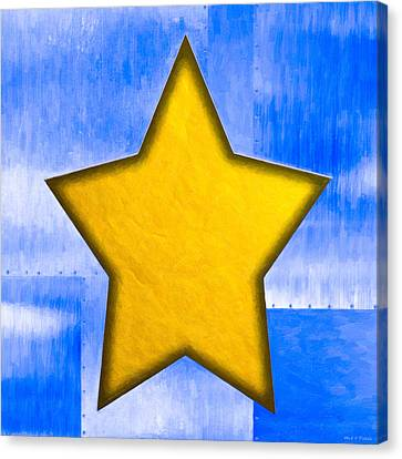 Gold Star From Out Of The Blue Canvas Print by Mark E Tisdale