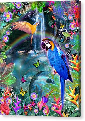 Golden Bluebirds Paradise Version 2 Canvas Print by Alixandra Mullins