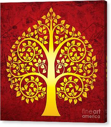 Golden Bodhi Tree No.1 Canvas Print by Bobbi Freelance