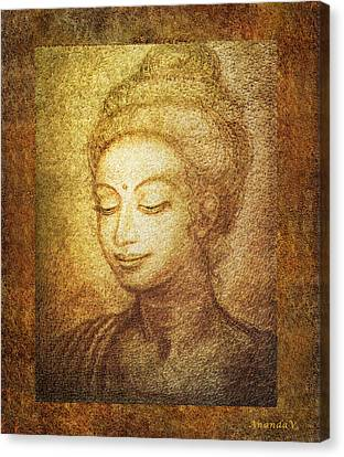 Golden Buddha Canvas Print by Ananda Vdovic
