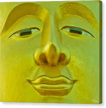 Golden Buddha Smile Canvas Print by Allan Rufus