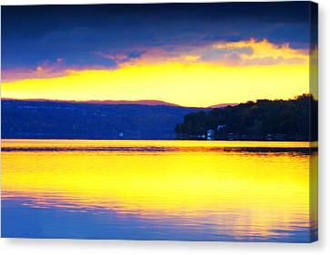 Golden Cayuga Lake Ithaca New York Canvas Print by Paul Ge