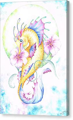 Golden Fairy Seahorse Canvas Print by Heather Bradley
