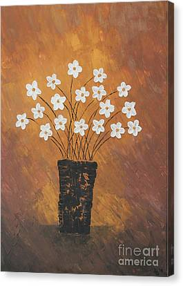 Golden Flowers Canvas Print by Home Art