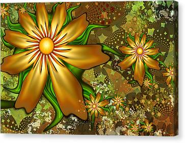 Golden Flowers Canvas Print by Peggi Wolfe