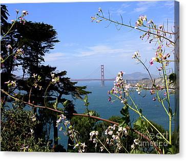 Golden Gate Bridge And Wildflowers Canvas Print by Carol Groenen
