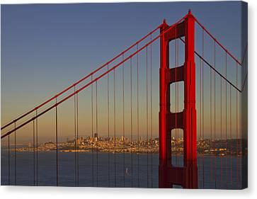 Golden Gate Bridge At Sunset Canvas Print by Melanie Viola