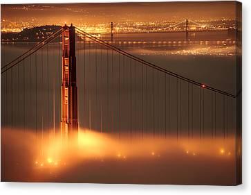 Golden Gate On Fire Canvas Print by Francesco Emanuele Carucci
