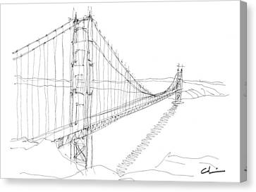 Golden Gate Sketch Canvas Print by Calvin Durham