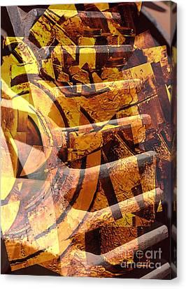 Golden Gears Abstract Canvas Print by Carol Groenen