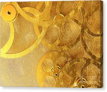 Golden Gears Background Canvas Print by Tomislav Zivkovic