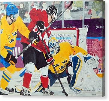 Golden Goal In Sochi Canvas Print by Betty-Anne McDonald