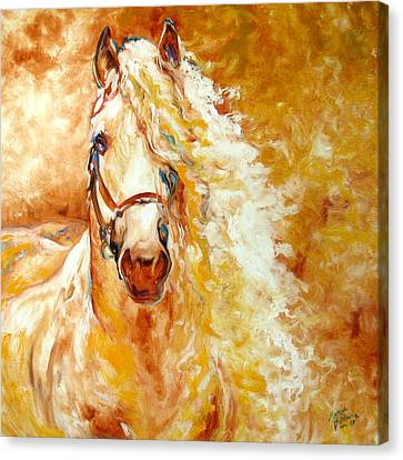 Golden Grace Equine Abstract Canvas Print by Marcia Baldwin