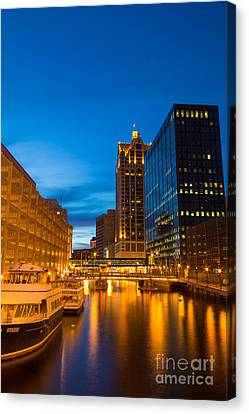 Golden Hour Milwaukee River Canvas Print by Andrew Slater
