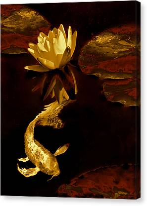 Golden Koi Fish And Water Lily Flower Canvas Print by Jennie Marie Schell