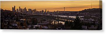 Golden Light On The City Seattle Canvas Print by Mike Reid