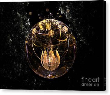 Golden Lotus In Deep Space Canvas Print by Peter R Nicholls