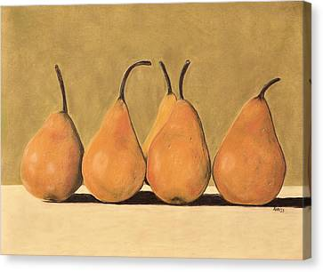 Golden Pears  Canvas Print by Jan Amiss