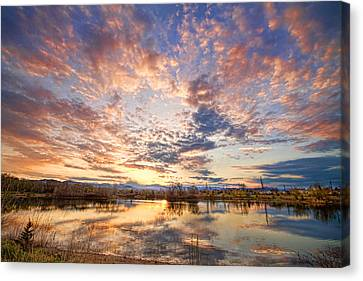 Golden Ponds Scenic Sunset Reflections 4 Canvas Print by James BO  Insogna