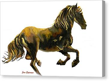 Golden Runner In White Canvas Print by Jose Espinoza