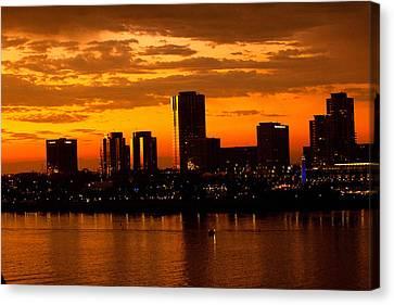 Golden Skys Cloak The Long Beach Skyline Canvas Print by Denise Dube