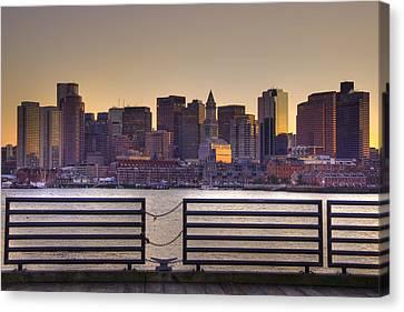 Golden Sunset Over Boston Canvas Print by Joann Vitali