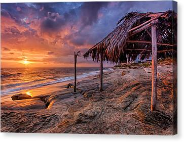 Golden Sunset The Surf Shack Canvas Print by Peter Tellone