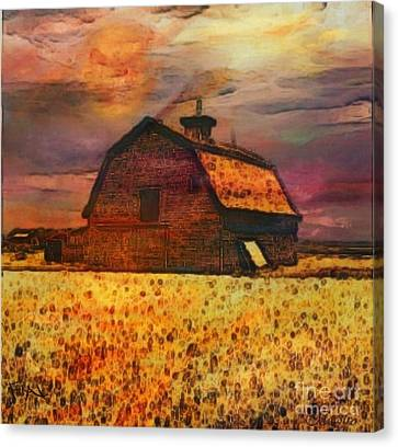 Golden Wheat Sunset Barn Canvas Print by PainterArtist FIN