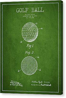 Golf Ball Patent Drawing From 1908 - Green Canvas Print by Aged Pixel