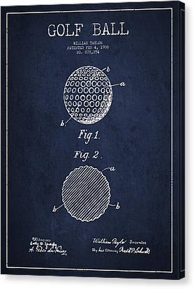Golf Ball Patent Drawing From 1908 - Navy Blue Canvas Print by Aged Pixel