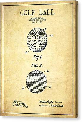 Golf Ball Patent Drawing From 1908 - Vintage Canvas Print by Aged Pixel